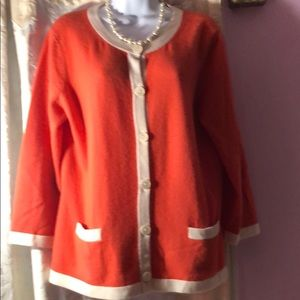 Talbots orange/off white cashmere cardigan. NWOT